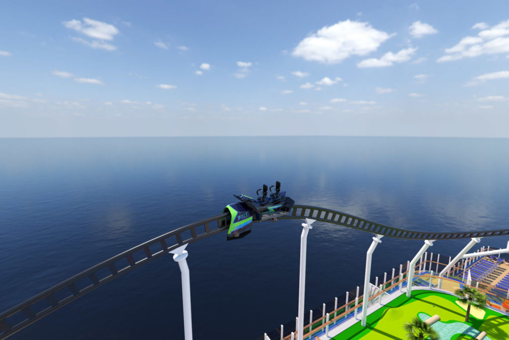 Carnival Mardi Gras Roller Coaster Track and Car above the Ocean