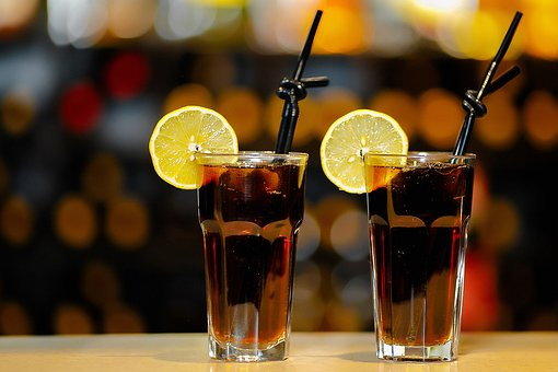2 Glasses of Cola with Straws & Lemon Slices